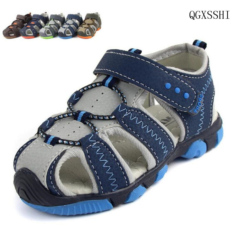 QGXSSHI Boys Sandals Summer Children Shoes Boys Fashion Anti-kick Baotou Sandals Kids Canvas Sandals Breathable Flats Shoes