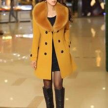 2018 invierno mujeres doble Breasted Big Fur Collar sobre tamaño grueso  niña casual lana abrigo largo 46baf2092ce8