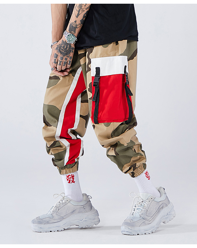Aolamegs Men Side Strip Track Pants Pocket Pants Men Elastic Waist Sweatpants Casual Streetwear Hip Hop Men High Street Pants (10)