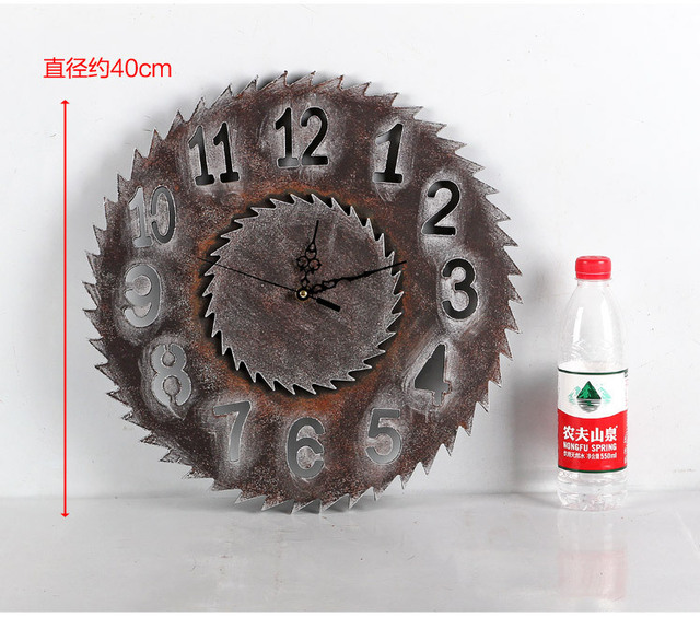 1PC Artistic Silent Retro Creative European Style Round Vintage Rustic Decorative Antique Wooden Home Wall Clock JL 036