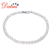 DMNFP307 8-9mm Baroque Pearl Necklace Pearl Jewelry Choker Necklace Women wedding jewelry(China)