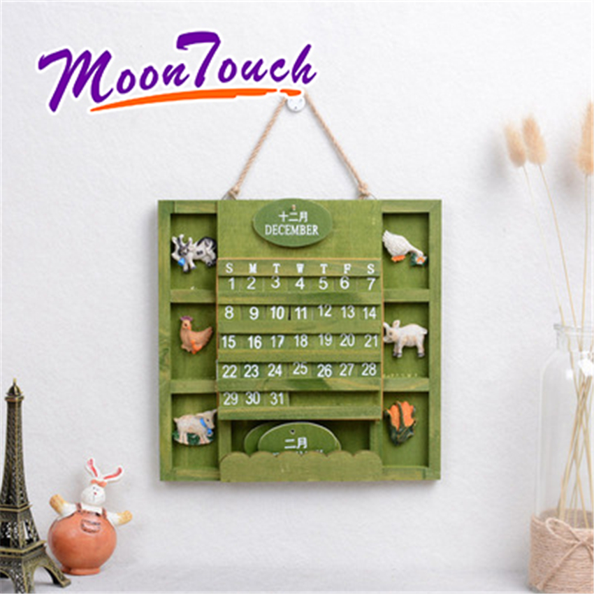 Wooden Calendar Vintage Mediterranean Country Style Perpetual Wall Home Shop Hanging Decoration Gift Retro Wood
