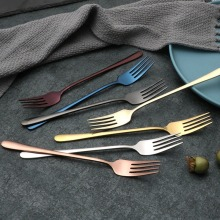 2019 Stainless Steel Dinner Fork Set Colorful Dessert Fork With Long Handle Gold Blue Fork Set for Hotel Party цена