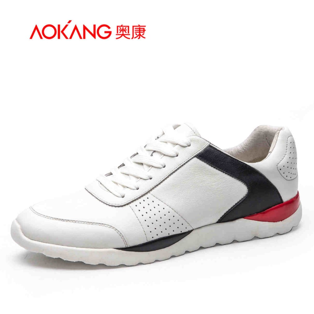 AOKANG 2017 New Men's leather shoes mixed colors Lace-Up Fashion Casual Shoes For Man Comfort Flats blue white male shoes new stylish man shoes lace up round toe comfort breathable shoes for man casual flats loafers chaussure homme free shipping