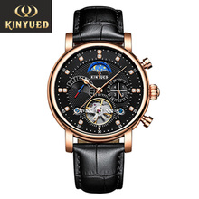 Moon Phase Top Brand Mens Mechanical Watches Automatic Tourbillon Skeleton Watch Men Calendar Relogio Masculino dropship KINYUED kinyued creative automatic men watches 2019 luxury brand moon phase mens mechanical watch skeleton rose gold horloges mannen