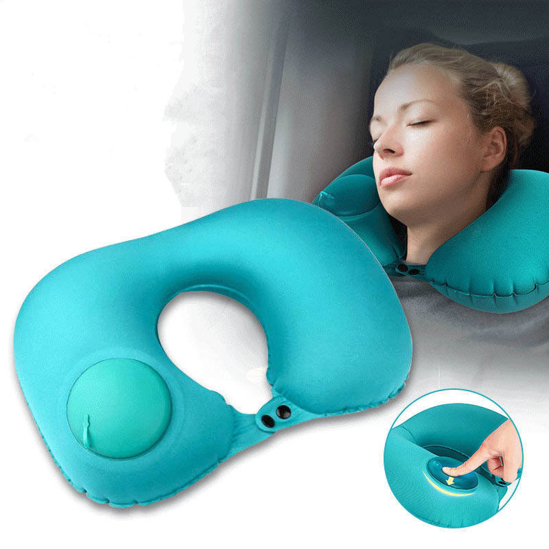 Press The Automatic Inflatable Pillow Travel U-shaped Neck Type Air Free Shipping