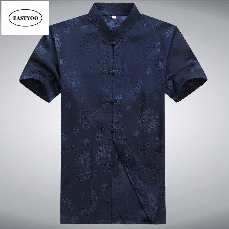Flora Shirts Men Silk Short Sleeve Shirt Dress Summer Mandarin Collar Shirt Pant Sets Plus Size Traditional Chinese Kung Fu Suit
