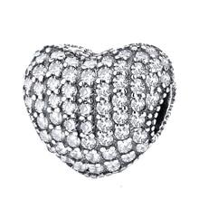 4b123e93a372 Envío gratis del encanto de la plata esterlina 925 brillo Pave abrir mi  corazón Clip cuentas Original Pandora pulsera para las m.