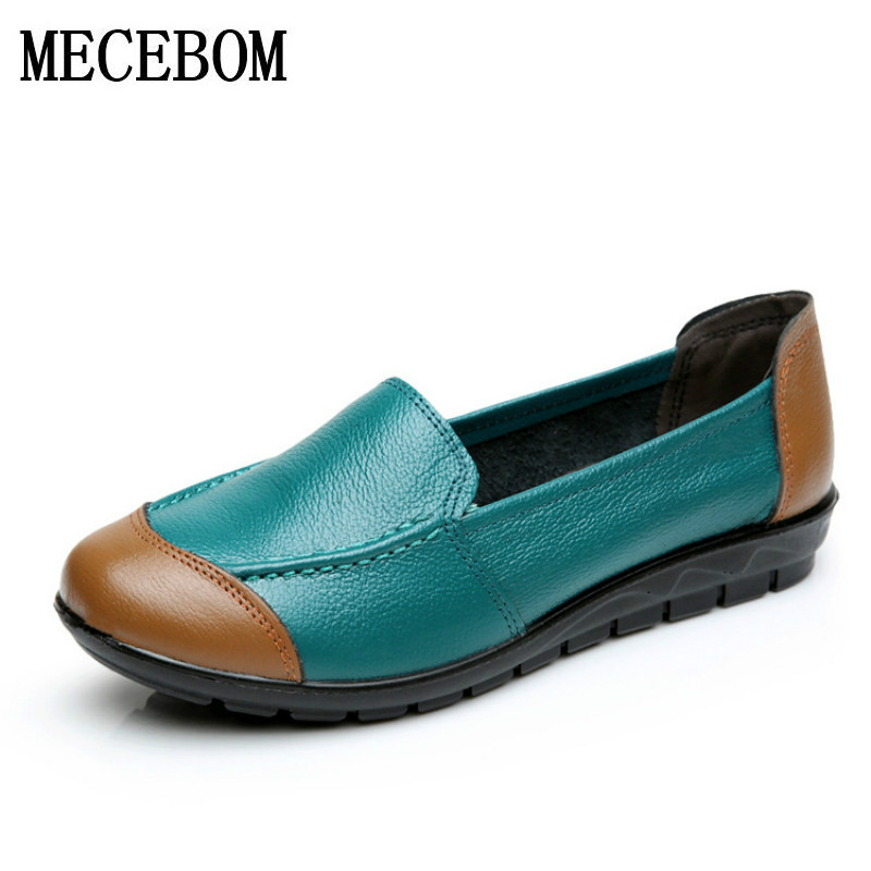 2018 Shoes Woman Leather Women Shoes Flats Colors footwear Loafers Slip On Women's Flat Shoes Moccasins Plus Size 5621W 2017 new leather women flats moccasins loafers wild driving women casual shoes leisure concise flat in 7 colors footwear 918w