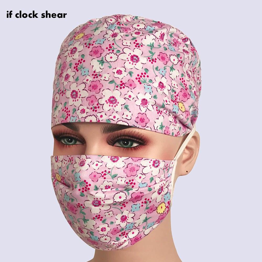 Medical Surgical Caps Dentistry Pet Doctor Nurse Caps Cotton Breathable Adjustable Pharmacy Hats Beauty Salon Uniform Work Hats