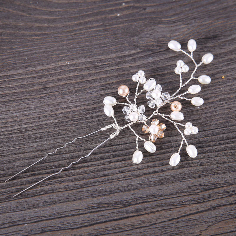 romantic tiaras and crowns Crystal Pearl Hair Pins Wedding Party Hairpins Bride Headpiece Hair indian Jewelry Accessories JL
