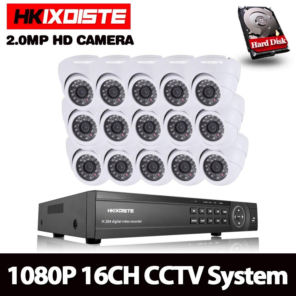 HKIXDISTE 16CH CCTV System Kit AHD DVR Dome indoor 2.0mp hd Kameras mit IR CUT Home Surveillance System 16 Kanal DVR Kit