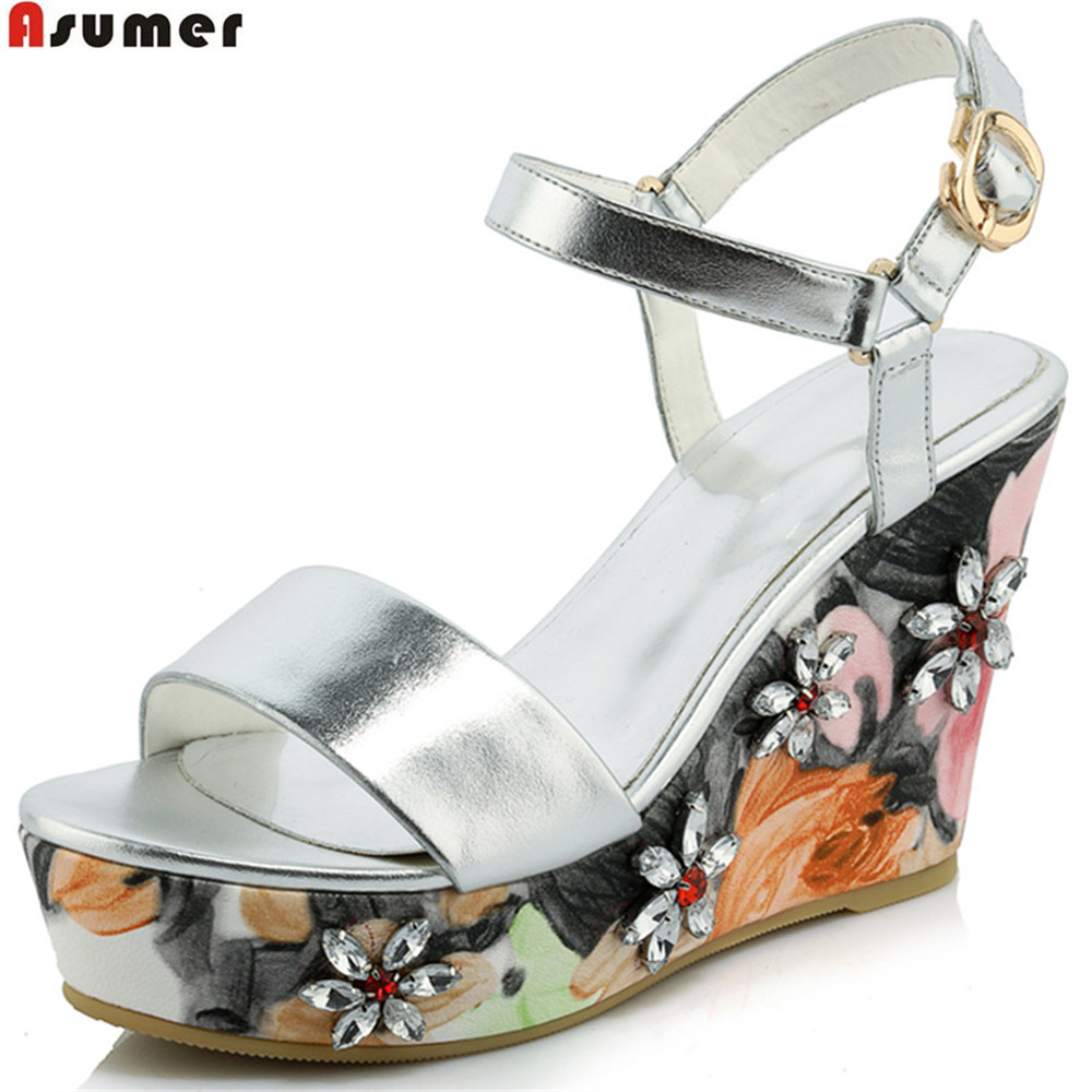 ASUMER 2018 fashion new women shoes buckle casual ladies genuine leather shoes wedge summer shoes high heels sandals crystal woman fashion high heels sandals women genuine leather buckle summer shoes brand new wedges casual platform sandal gold silver