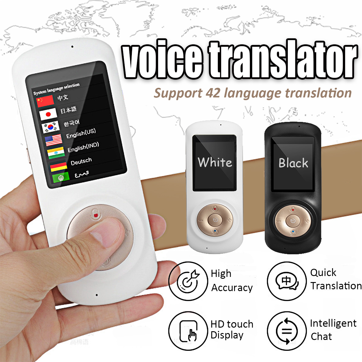 Portable Smart Voice Traductor 2.4'' WIFI Voice Translator Real Time 42 Languages Touchs Screen for Traveling Business Learning portable smart voice translator two way real time wifi 43 languages instant traductor translation for learning meeting business