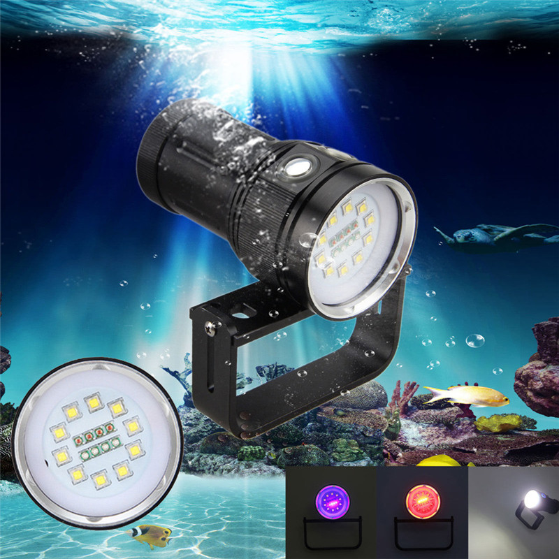 2018 10x XM-L2+4x R+4x B 12000LM LED Photography Video Scuba Diving Flashlight Torch Safety & Survival Z1023