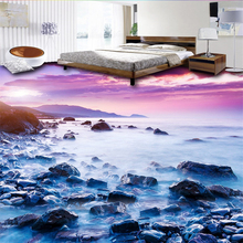 Developed three-dimensional painting of any size sea seaside stone living room bathroom 3d floor tiles papel de parede  floors