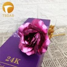 24K Золотая фольга Роза Свадьба День Благодарения День Святого Валентина подарок украшение цветок любовника розовый искусственный цветок с подарочной коробкой