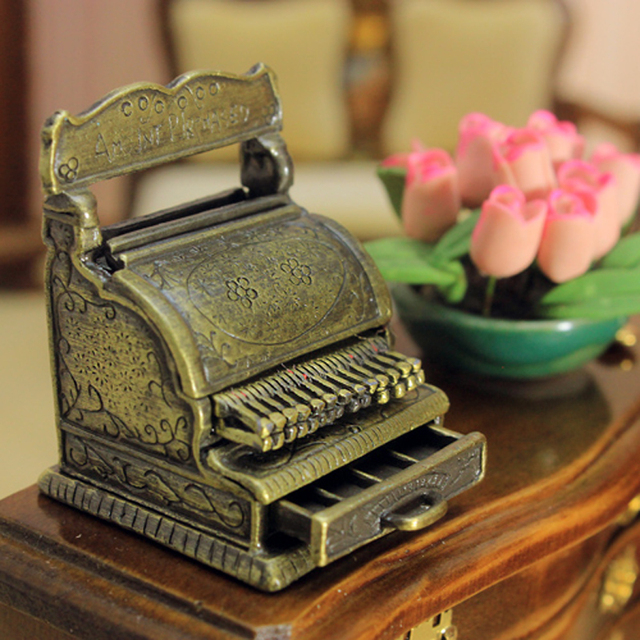 1:12 Scale VINTAGE Bronze Color Miniature Cash Register Play Doll House  Dollhouse Furniture Accessories