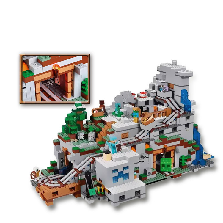 LEPIN 2932pcs The Mountain Cave 18032 My worlds Miniecraft Model Building Kit Blocks Bricks Children Toy for Children 21137 dhl lepin 18032 2932 pcs the mountain cave my worlds model building kit blocks bricks children toys clone21137 in stock