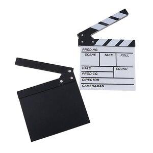 Image 1 - 20*20 cm מנהל וידאו אקריליק עץ יבש למחוק טלוויזיה סרט סרט קלאפר לוח צפחה עם צבע מקלות