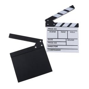 20*20cm Director Video Acrylic Clapboard Dry Erase TV Film Movie Clapper Board Slate with Color Sticks