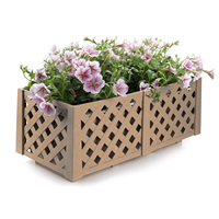 T4U Resin Planter Box Wood Brown Rectangle flower Pot Container Grille Style Patio Balcony Porch Yard Garden Home Decoration