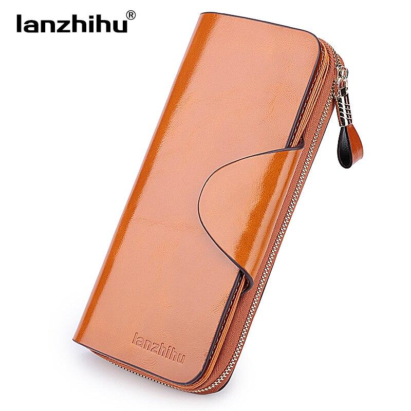 Echtes Leder Brieftasche für Frauen Weibliche RFID Sperrung Brieftaschen Großer Reise Reißverschluss frauen Geldbörse Damen Lange Handyhalter
