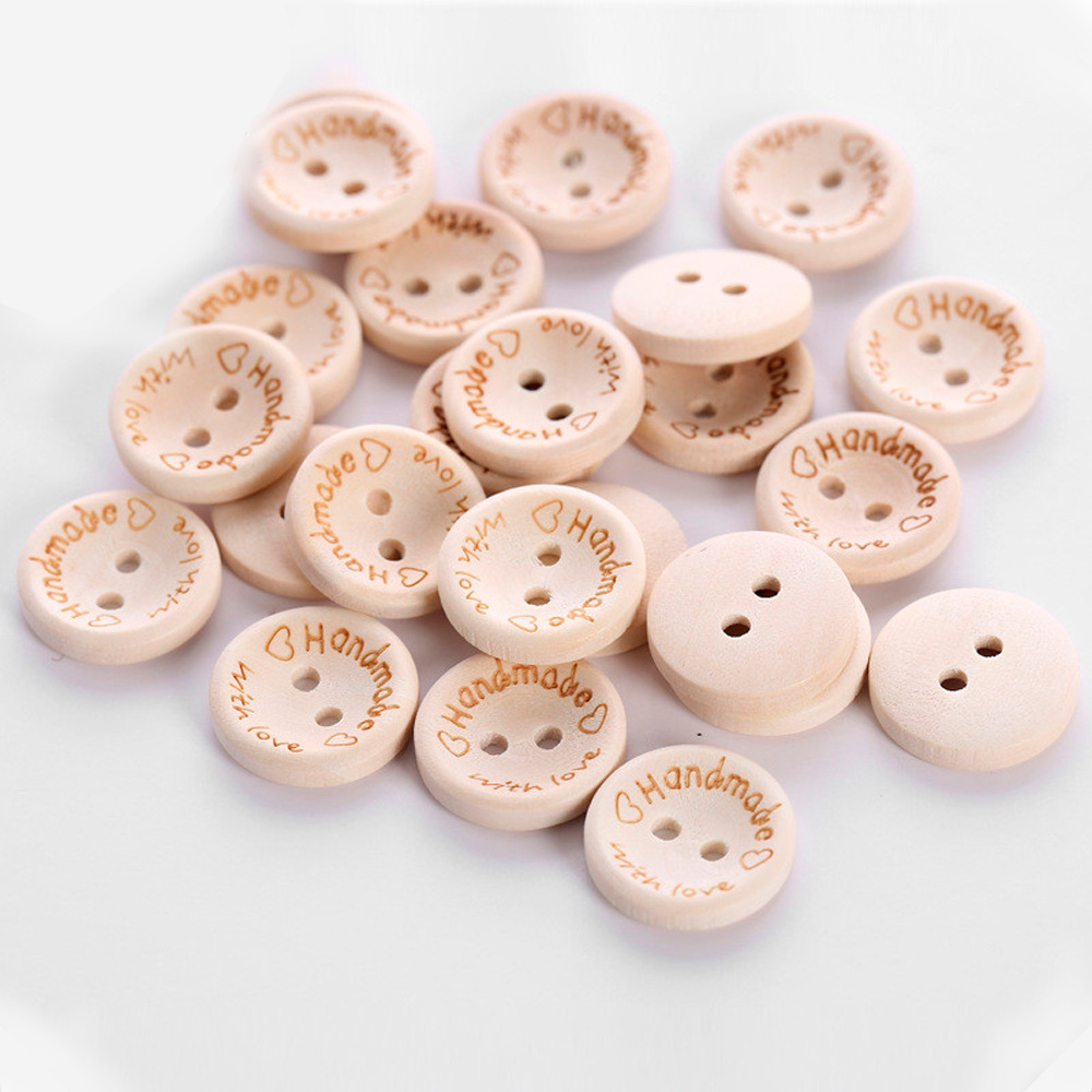 100pcs//pack Hand Made with Love Sewing Wood Button 15mm Round Decorative Craft