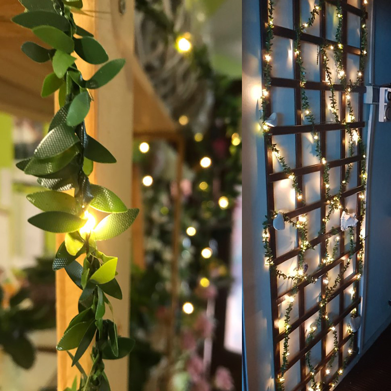 10M 5M 3M Leaf Ivy Garlands Fairy String Holiday Light Copper Wire Flexible Lighting Lamp For Yard Garden DIY Decoration IP65 in Holiday Lighting from Lights Lighting