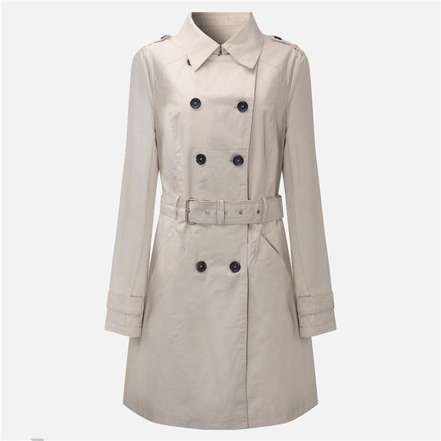 2016 Новая Мода Двойной Брестед Середина длинную Траншею Пальто Женщин Пояса Плащ Polerones Ветровка Женщин Abrigos Mujer