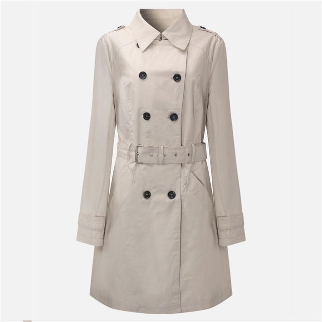 2016 Nova Moda Double Breasted Mid-long Trench Coat Mulheres Manto Cinto Polerones Abrigos Mujer Blusão Feminino