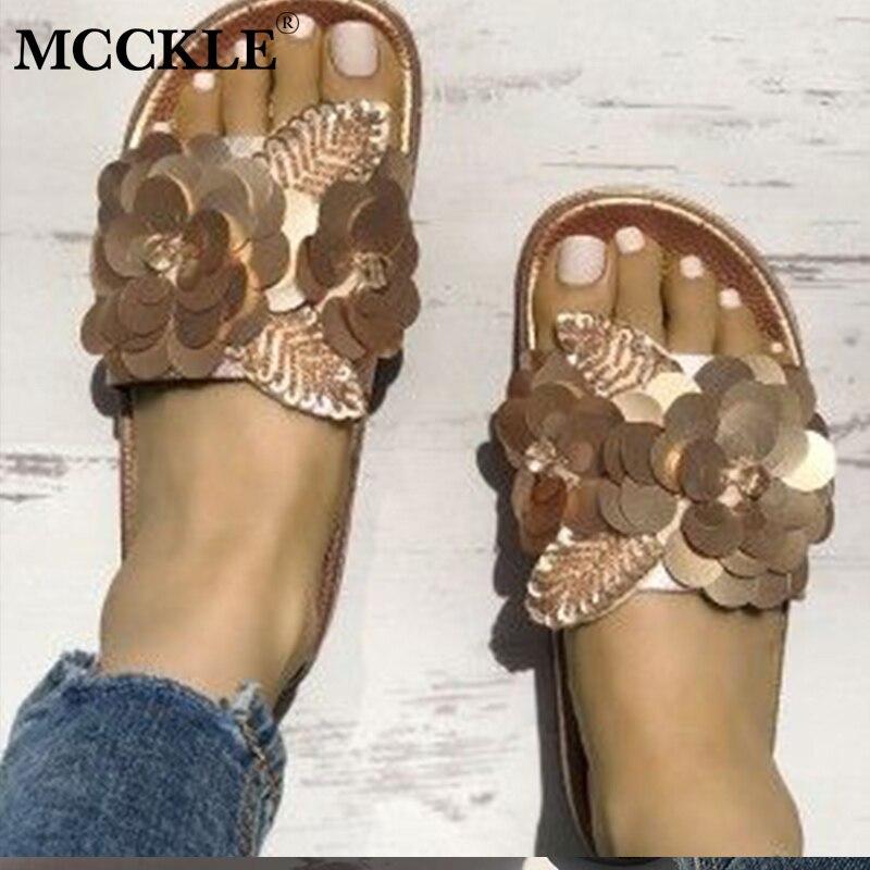 MCCKLE/Для женщин Повседневное летние шлепанцы на платформе женский металлический цветок листьев украшения шлепанцы сандалии для пляжа обувь...