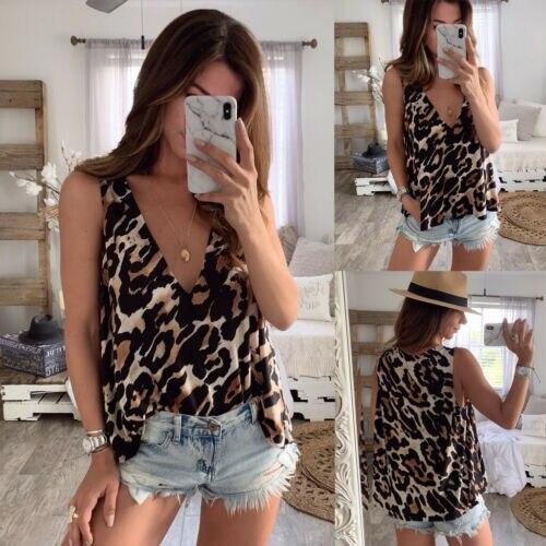 Fashion Women Casual Chiffon Leopard Shirt Summer Sleeveless Vest Loose Casual  Blouse Tops