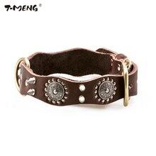 T-MENG бренд Настоящая кожа собака Ошейники заклепками 3 размера высокое качество Цепочки и ожерелья волнистые персонализированные Товары для собак Аксессуары поставки