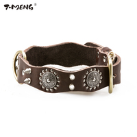 T MENG Brand Genuine Leather Dog Collars Rivet Studded 3 Sizes High Quality Necklace Wavy Personalized