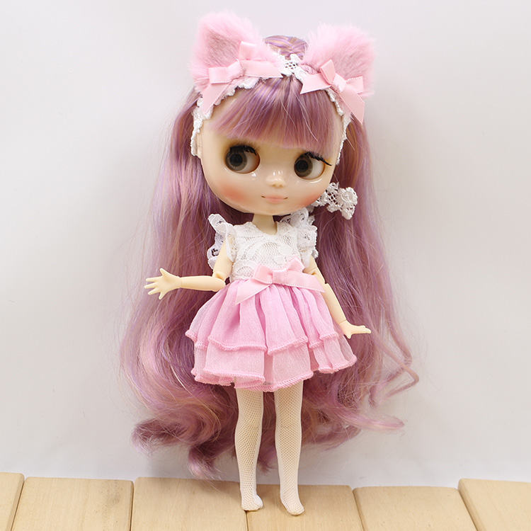 Middie Blythe Doll Purple Pink Yellow Dress Cat Ear 1