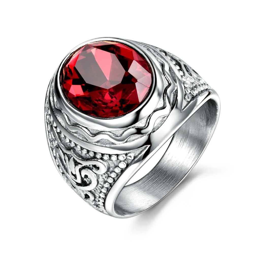 Xiagaoแหวนสำหรับผู้ชาย2สีสีแดงรูปไข่หินtitaniumสแตนเลสผู้ชายแหวนแฟชั่นชายของแหวนข้ามเด็ก