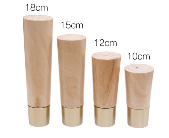 4Pieces/Lot Oak Solid Wood Furniture Sofa Feet Increased Pad Brass Cabinet Legs