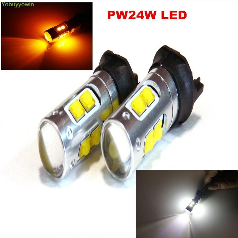 2X Amber Yellow Error Free PW24W PWY24W LED Bulbs For BMW F30 320i 328i 335i VW MK7 Golf GTi For Daytime Running Lights DRL Fog