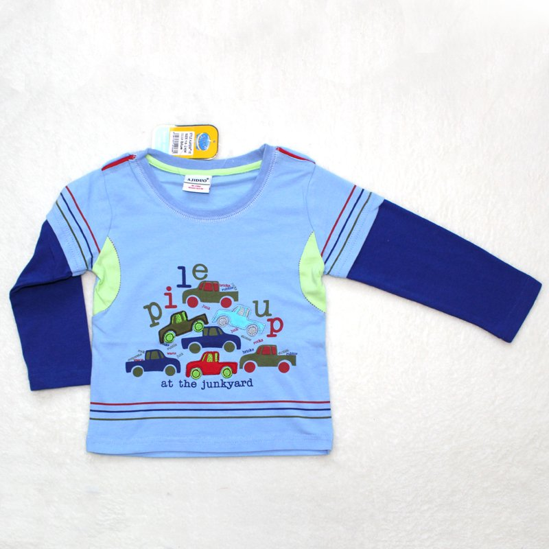 Children t shirt baby t shirts embroidered car boys long for Kids t shirts in bulk