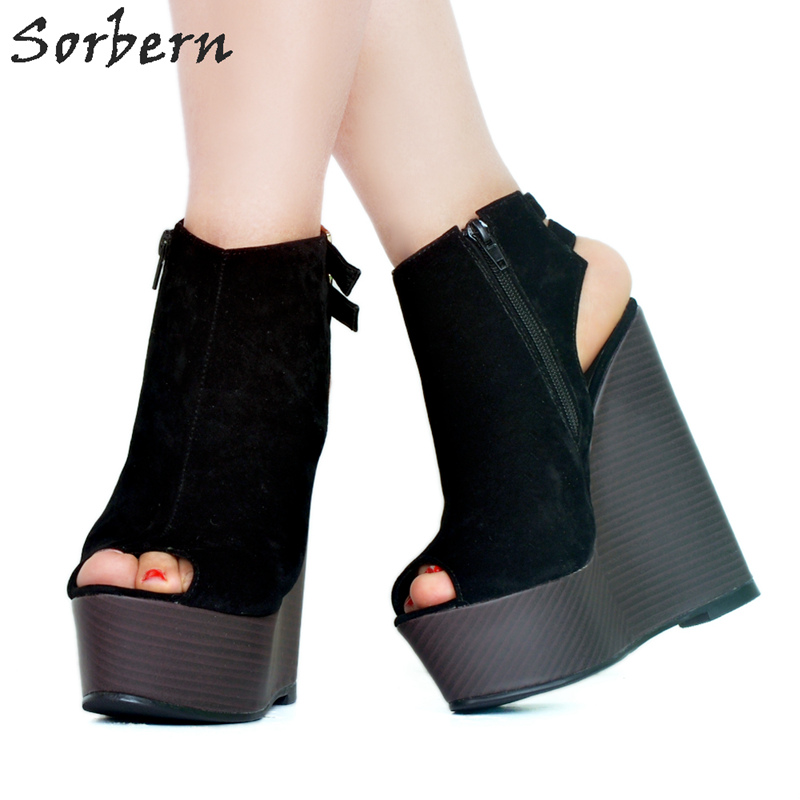Sorbern Black Wedge High Heels Open Toe Heels Platform Shoes 2018 Spring Pumps Women Shoes Wedges Comfortable Women Heels