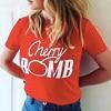 Cherry Bomb Letters Print Funny T Shirt Women Summer 2017 Punk Rock Female T Shirt Tops
