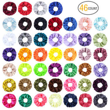 (46 Pieces/set) Women's Satin Scrunchies Solid Color Elastic Hair Bands Hair Accessories - DISCOUNT ITEM  20% OFF All Category