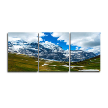 Laeacco 3 Panel Blue Sky Snow Mountain Posters and Prints Nordic Wall Art Canvas Painting For Living Room Home Decor