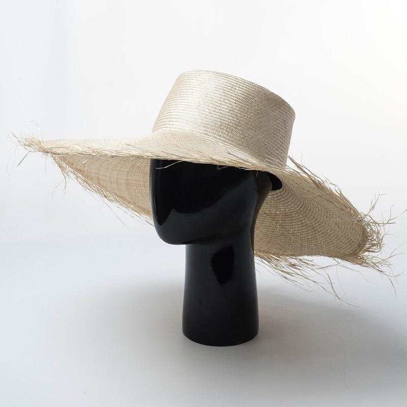 01812 HH7283A 2019 new desige summer Burrs brim handmade LINEN sun cap MEN women leisure holiday beach hat