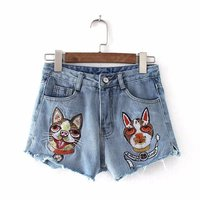 LIENZY Summer Casual Dog Embroidery High Waist Shorts Jeans For Women Denim Female Bottom Funny Shorts