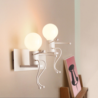 Modern Cartoon Doll Wall Light LED Creative Mounted Iron Sconce Living Room children's room white wall lamps