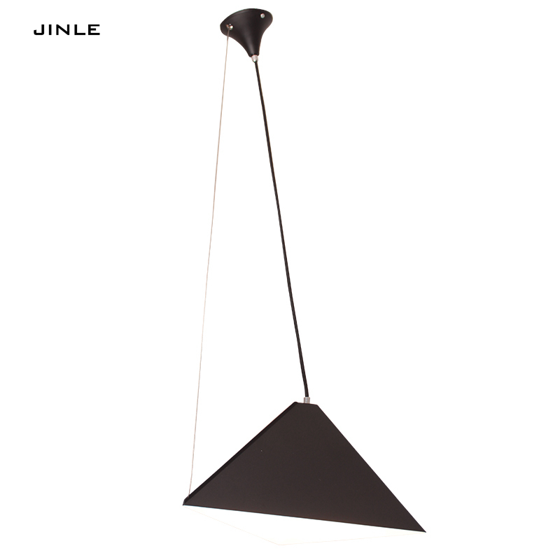 Nordic Led Black White Triangle Cone Iron Art Pendant ...