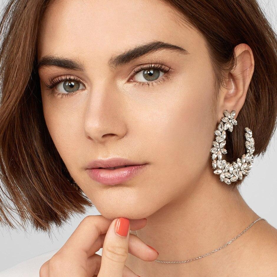 JUJIA Luxury Jewelry Rhinestone Earring Leafs Geometric Crystal Stud Earrings For Women Accessories