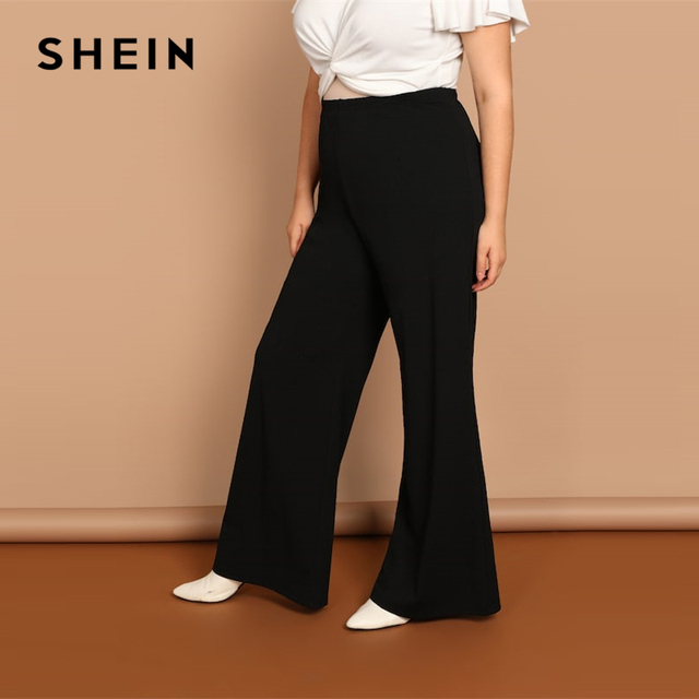 SHEIN Black Plus Size Plain Loose Wide Leg Long Pants Women Office Lady Minimalist 2019 Spring Fashion Solid Trousers 2
